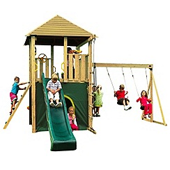 Plum - Warthog Wooden Climbing Frame Outdoor Play Centre with Double Swings