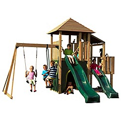 Plum - Bison Wooden Climbing Frame Outdoor Play Centre with Swing