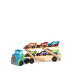 Melissa & Doug - Jumbo race-car carrier wooden trucks