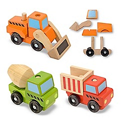 Melissa & Doug - Stacking construction vehicles wooden trucks