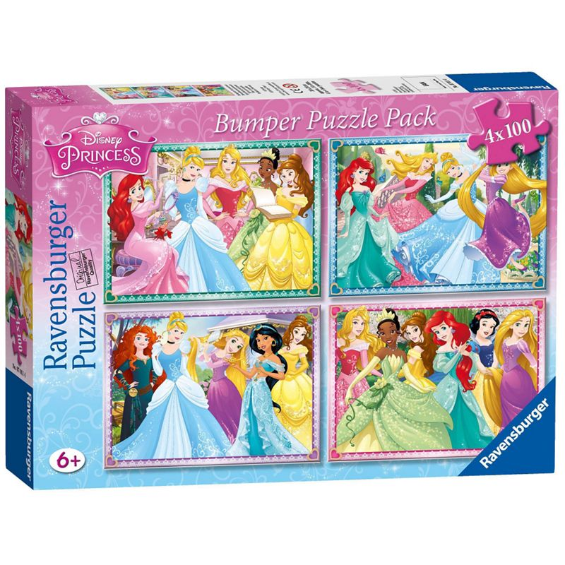 Disney Princess 4x 100 piece Jigsaw Puzzle Bumper Pack