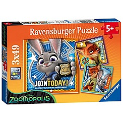 Disney - Zootropolis 3 x 49 piece Jigsaw Puzzles
