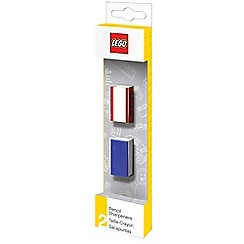 LEGO - 2 pencil sharpeners, red, blue and white.