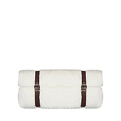 Luxe Edit - White faux fur throw with travel straps