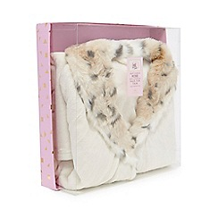 Luxe Edit - Cream snow leopard print collar dressing gown in a gift box