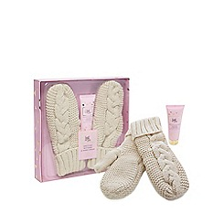 Luxe Edit - Cream Knitted Mittens and Hand Cream Set in a Gift Box - 50ml