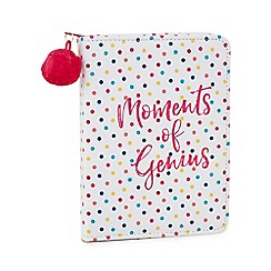 At home with Ashley Thomas - White spotted 'Moments of Genius' zip around notepad