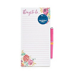 At home with Ashley Thomas - Rose print 'Things to do' magnetic list pad with pen