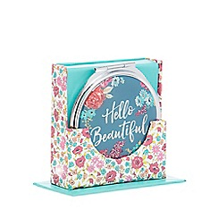 At home with Ashley Thomas - Green floral 'Hello Beautiful' print dual-sided compact mirror
