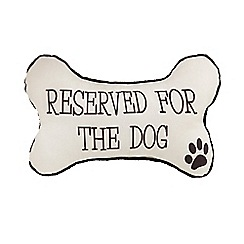 Spot & Mog - White 'Reserved for the dog' cushion