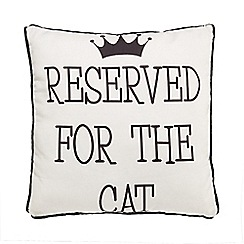 Spot & Mog - White 'Reserved for the cat' cushion