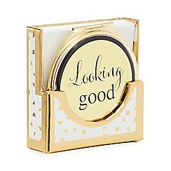 Luxe Edit - Gold 'Looking Good' print dual-sided compact mirror