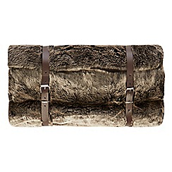 Luxe Edit - Brown faux fur throw with travel straps
