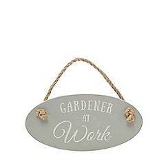 Wilson and Bloom - Grey 'Gardener At Work' sign
