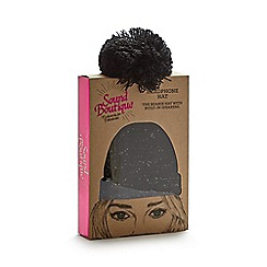 Debenhams - Black cable knit headphone beanie hat