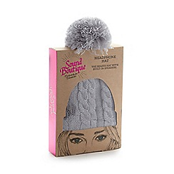 Debenhams - Grey cable knit headphone beanie hat