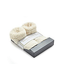 Intelex - Cozy Microwavable Furry Slipper Boots - Cream