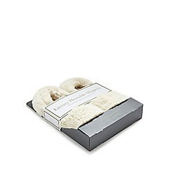 Intelex - Cozy Microwavable Furry Slippers - Cream