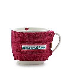 Rose & Butler - White mug with pink knitted cosy