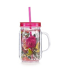 Rose & Butler - Pink floral jar cup with straw