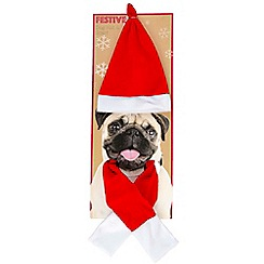 Debenhams - Dog Dress Up Christmas Hat and Scarf