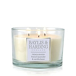 Baylis & Harding - French Riviera - French Lavender & Vanilla Bean Triple Wick Candle