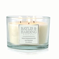 Baylis & Harding - Mediteranean Sea - Sea Breeze & Cotton Triple Wick Candle