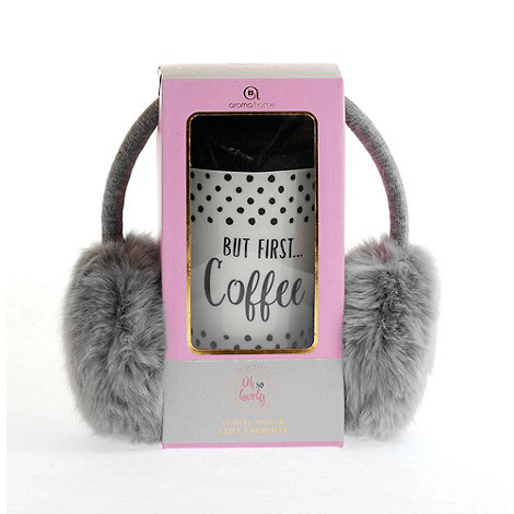 Oh So Lovely - Grey fur earmuffs & travel mug