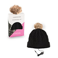 Debenhams - Black headphone hat with brown pom