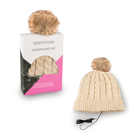 Debenhams - Cream headphone hat with brown pom