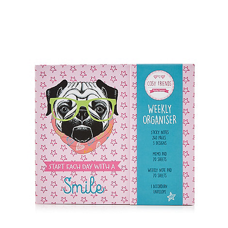 Cosy Friends - Pink pug print weekly organiser