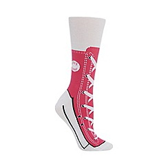 Debenhams - Silly Socks' pink shoe print socks