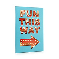 Debenhams - Blue 'fun this way' LED wall art