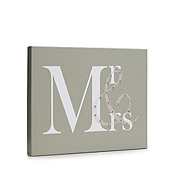 Debenhams - Taupe 'Mr & Mrs' LED wall art