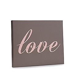 Debenhams - Taupe 'love' LED wall art