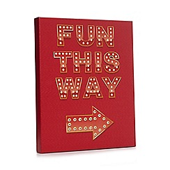 Debenhams - Red 'fun this way' LED wall art