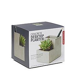 Kikkerland - Concrete desktop planter and stationer holder