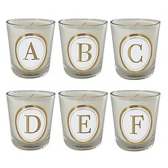 Bombay Duck - Monogram 6.5cm Scented Candle Votive in White with Gold Spots