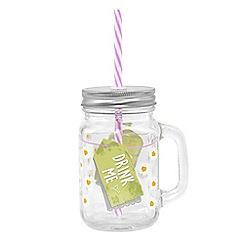 Zak - Glass mason jar with straw - drink me