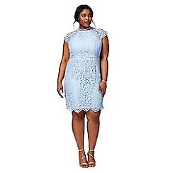 Chi Chi London - Blue 'Loles' floral plus size lace dress