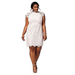 Chi Chi London - Pink 'Shannon' floral plus size lace dress