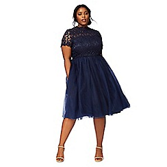 Chi Chi London - Navy 'Shirann' plus size lace dress
