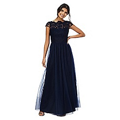 Chi Chi London - Navy 'Bealey' scalloped maxi dress