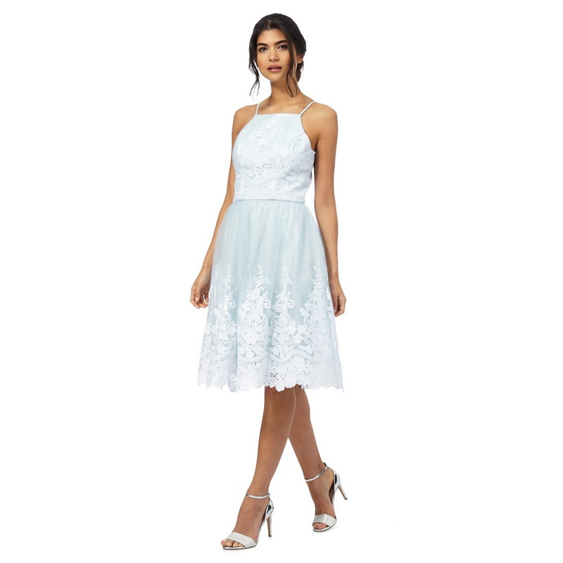 8e4dbdda5a9 Chi Chi London Pale blue  Liberty knee length plus size prom dress