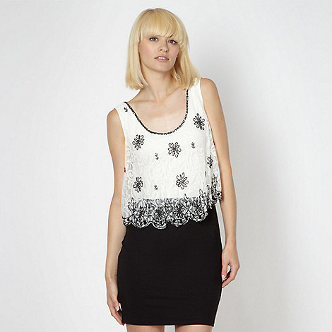 Lipsy - Black 2-in-1 lace top dress