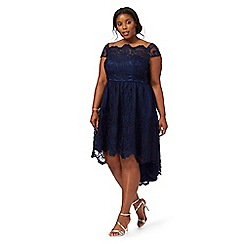 Chi Chi London - Navy 'Derlyn' plus size lace dress