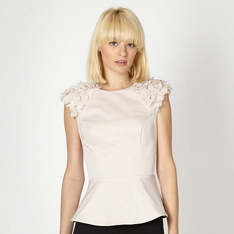 Lipsy - Light pink petal applique peplum top