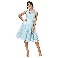 Chi Chi London - Blue floral trim dress