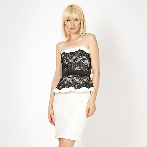 Lipsy - VIP white lace peplum dress