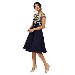 Chi Chi London - Navy floral plus size lace dress